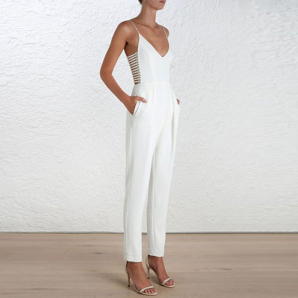 Elegant Halter V Collar New Arrival Vacation Jumpsuit