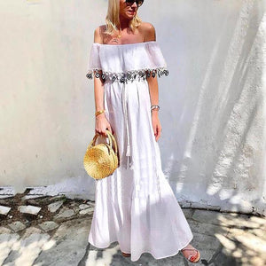 Sexy Off Shoulder Solid Color Lace-Up Ruffle Dress