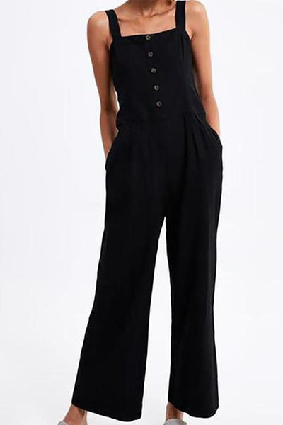 Square Collar Waist Pleated Button Jumpsuit
