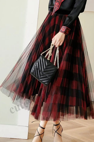 2020 Fashion Women's Pleated Skirt Women Trendy Plaid Long Skirt