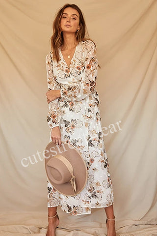 2020 French V-Neck long printed chiffon one piece dress summer