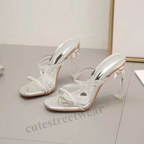 2020 Women's Sandals with Rhinestones High Heels and Open Toes