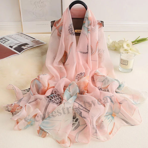 2020 long lotus scarf female silk shawl sweet sunscreen scarves