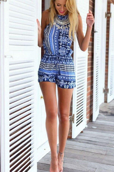 Halter Backless Printed Playsuits