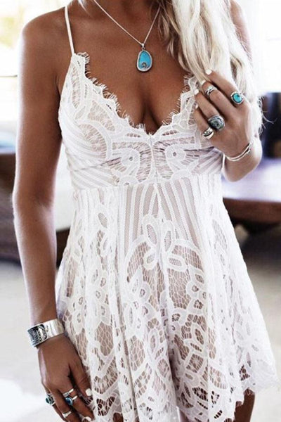 Lace Spaghetti Strap Cross Straps Hollow Out Romper