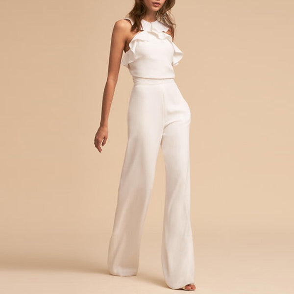 STYLISHPOP Fashion Elegant Falbala Vacation Jumpsuit