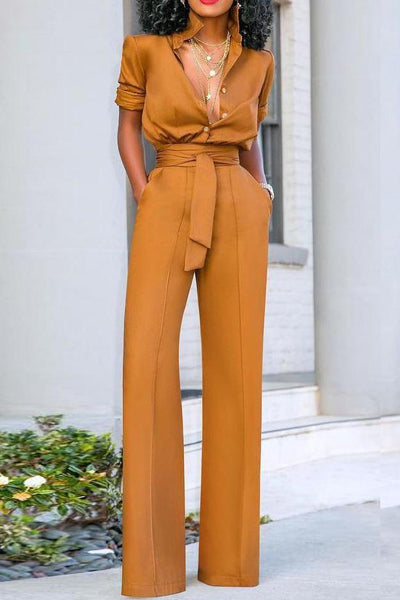 Sexy Turndown Collar Pure Colour Long Sleeve Jumpsuit