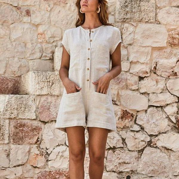 Casual Round Collar Plain Button Decorated Romper