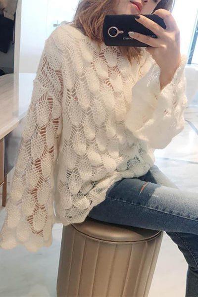 Loose Hollow Hook Flower Flare Long Sleeve Sweater