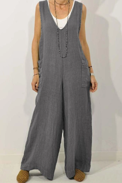 V-Neck Cotton And Linen Strap Jumpsuit