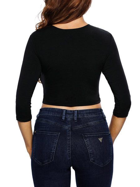 Lace-Up  Exposed Navel  Hollow Out Plain Long Sleeve T-Shirt