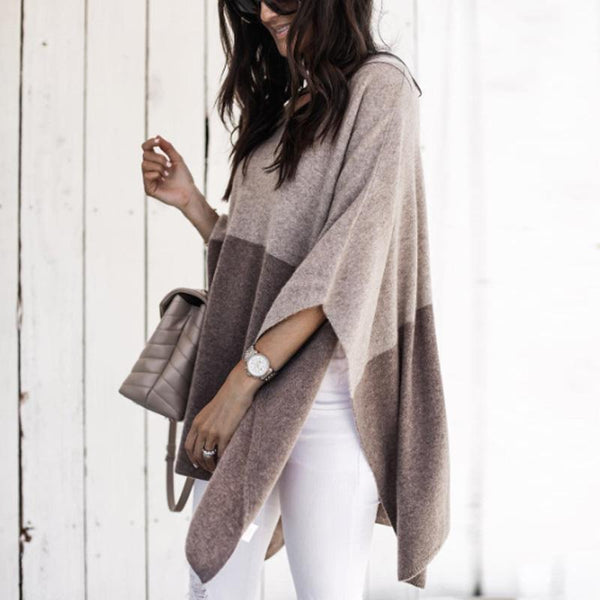 Loose V Neck Color Block Knitting Sweaters