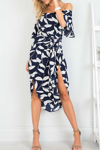 Off Shoulder  Asymmetric Hem  Printed Maxi Dresses