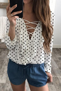 STYLISHPOP Deep V Neck  Flounce Fur Collar  Polka Dot Blouses