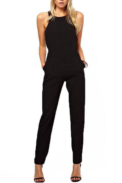 STYLISHPOP Elegant Sleeveless Casual Jumpsuit