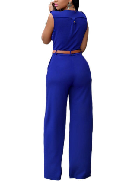 Slim Casual Jumpsuit With Belt