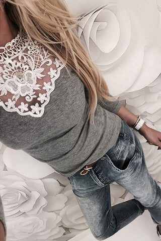 Crew Neck  See Through  Lace Patchwork T-Shirts