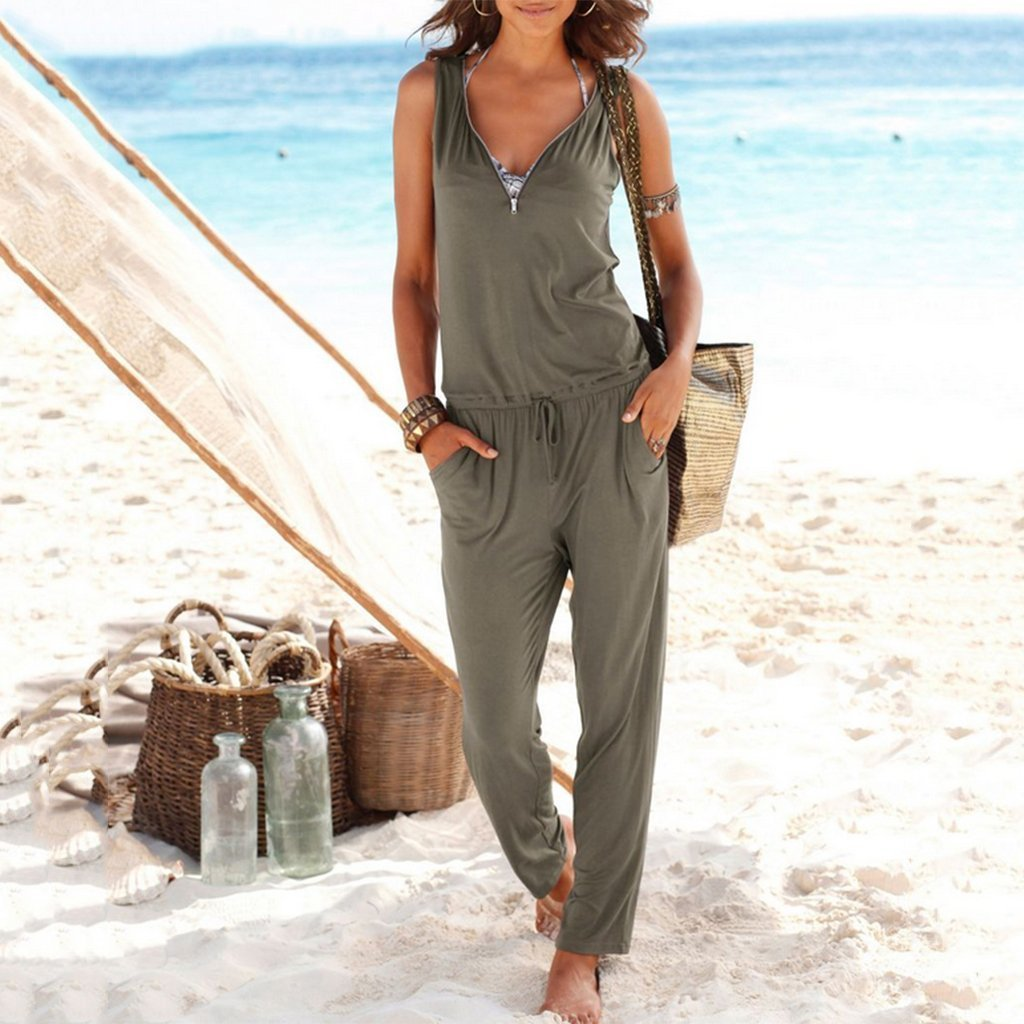 STYLISHPOP Sexy V Collar Sleeveless Slim Jumpsuit With Pockets
