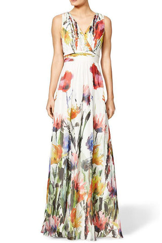 V Neck  Floral Printed  Sleeveless Maxi Dresses