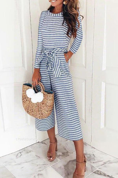 Women Fashion Jumpsuits Stripe Long Sleeve Solid Color, STYLISHPOP Stylish Jumpsuits