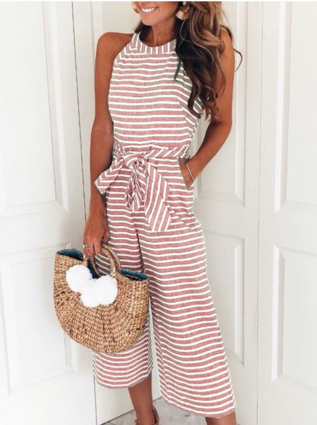 Striped Vacation Casual Jumpsuits