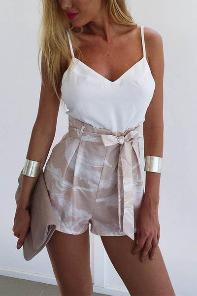 White Fashion Spaghetti Strap Romper