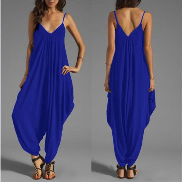 STYLISHPOP Sexy Low Chest V Collar Sexy Jumpsuit