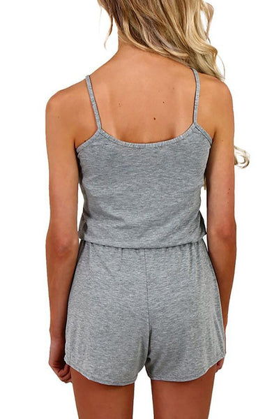 Casual Trendy Shirring Waist Romper