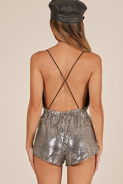 Sexy Fashion Backless Lace-Up Romper