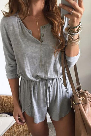 Casual Fashion Long Sleeves Drawstring Romper