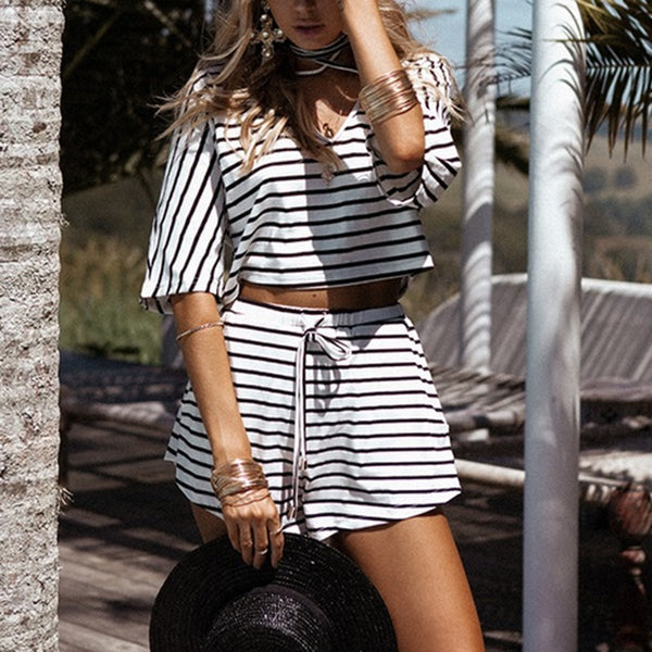 Fashion Short Sleeves Stripe Two-Piece Rompers