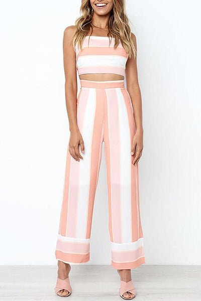 Contrast Striped Tie Back Top Wide Leg Pants