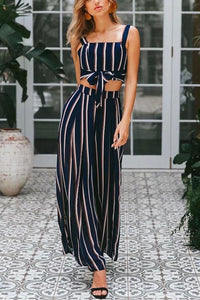 Sexy Fashion Stripe Sleeveless Jumpsuits