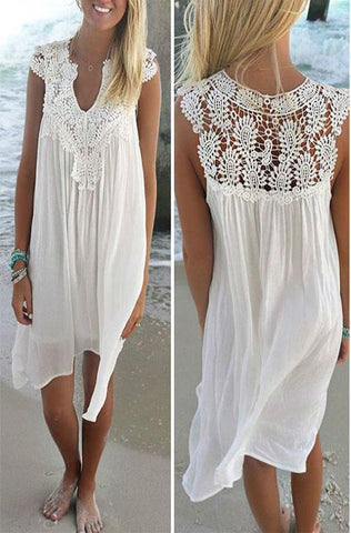 Women Lace Spliced Chiffon Loose Solid Color Dress