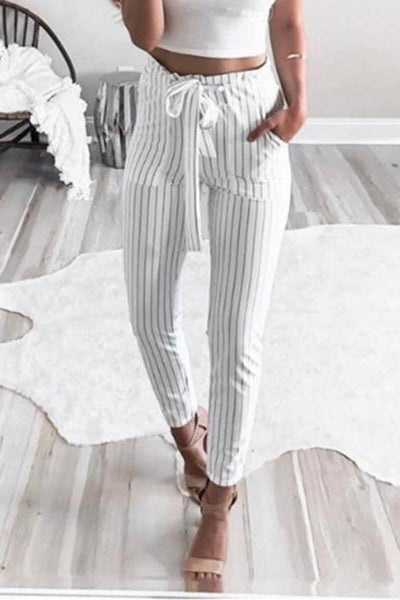 Slim Striped Beltcropped Pants