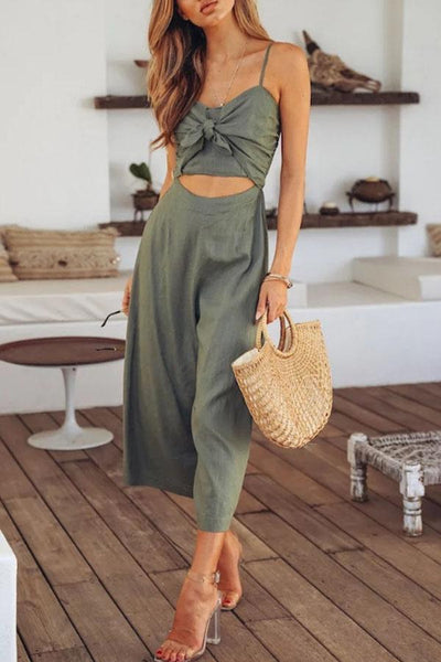 STYLISHPOP Spaghetti Strap  Bowknot  Exposed Navel  Plain  Sleeveless Jumpsuits