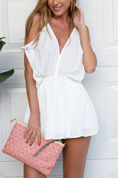 Sexy Short Sleeves Off Shoulder Rompers
