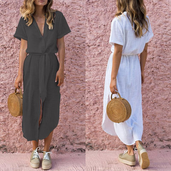 Women Maxi Dress Deep V Buttons Down Short Sleeves Vintage Dress