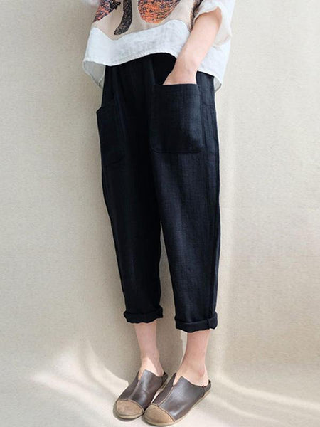 Casual Linen Cotton Elastic High Waist Solid Color Pants