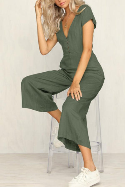 Deep V Neck  Decorative Buttons  Plain  Short Sleeve Jumpsuits
