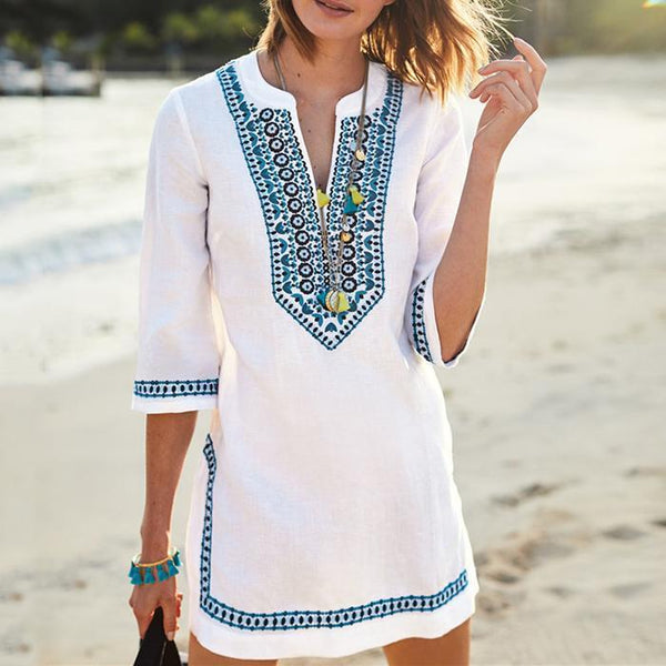 V-Neck Bikini Blouse Seaside Sun Protection Shirt Beach T-Shirt