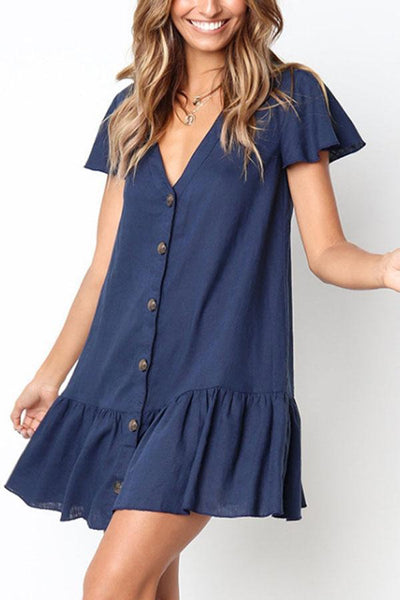 JOJORUBY V Neck Single Breasted Plain Short Sleeve Mini Dresses