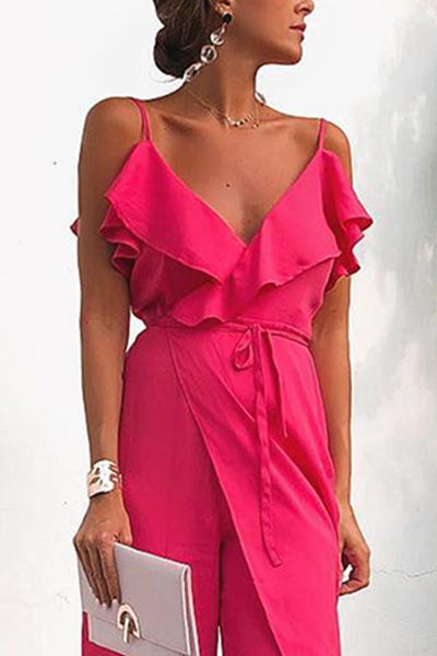 Sexy Fashion Rose Sleeveless Jumpsuits