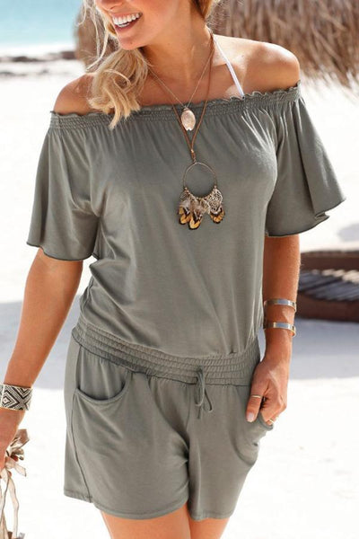 Off Shoulder  Backless  Plain  Sleeveless  Playsuits