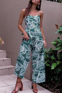 Spaghetti Strap  Backless  Print  Sleeveless Jumpsuits