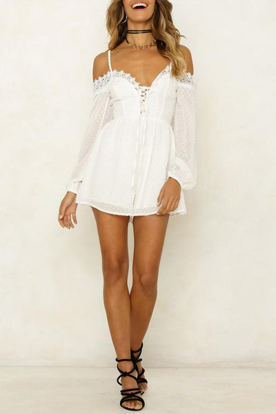 Spaghetti Strap Sexy Lace Up Long Sleeve Rompers