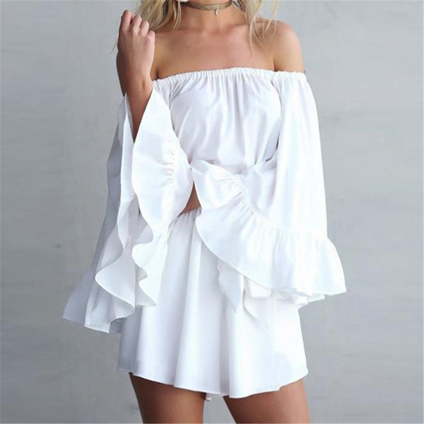 Sexy Plain Elastic Shoulder Loose Long Ruffled Sleeve Bowknot Belt Romper
