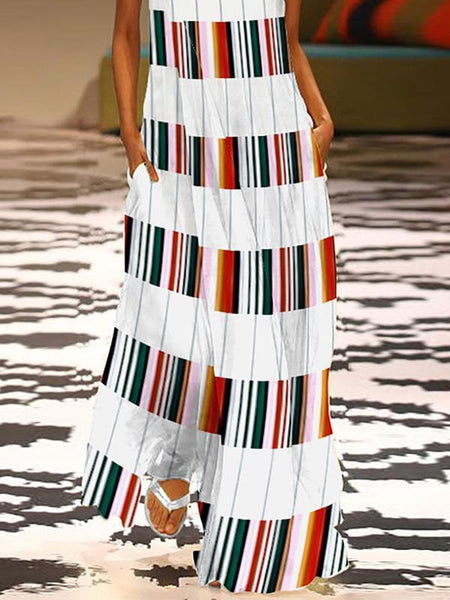 Fashion V Neck Colorful Striped Casual Maxi Dress