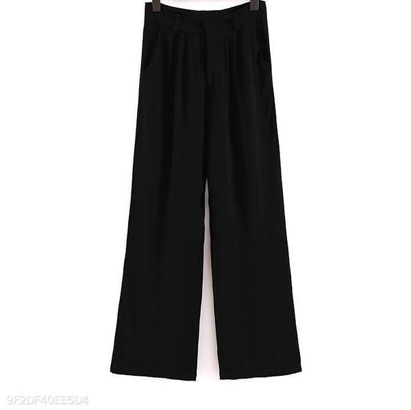 Fashion High Waist Wide Leg Plain Pants
