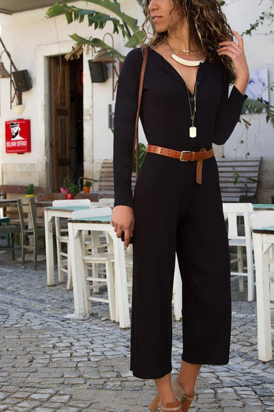 Fold Over Collar  Single Breasted  Plain  Long Sleeve Jumpsuits